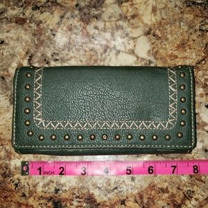 Bandana by American West Olive Studded Wallet